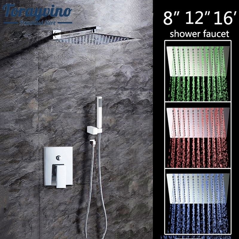 8 12 16LED Shower Wall Mounted Square Style Brass Head Waterfall Shower Set Rainfall Bathroom Shower Kit Hand Shower yanksmart bathroom shower set 8 square top shower head wall mounted rainfall shower faucet and square hand shower spout set