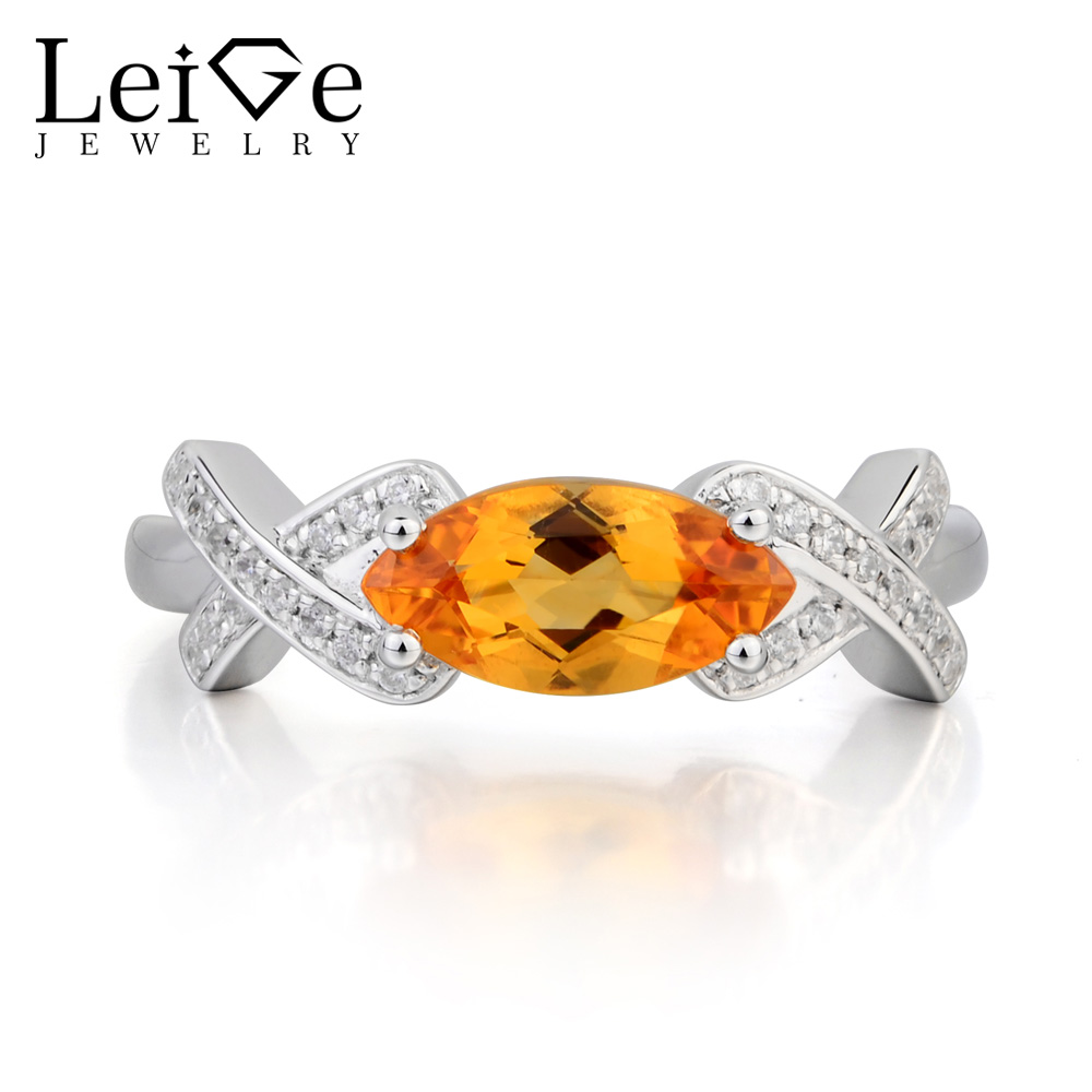 купить Leige Jewelry Natural Citrine Ring Citrine Proposal Ring Marquise Cut Yellow Gemstone Solid 925 Sterling Silver Gifts for Women по цене 6323.77 рублей