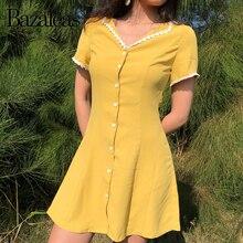 Bazaleas 2019 moda Centro blanco botones mujeres vestido Vintage amarillo Delgado vestidos A-line volantes apliques mini vestidos Casual