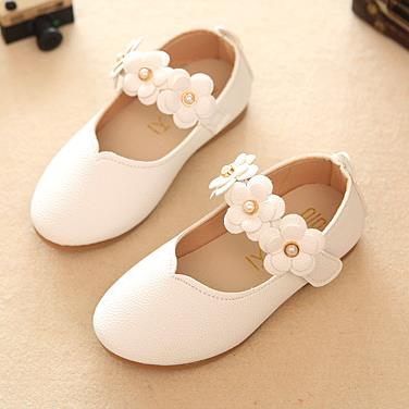 qloblo Childrens shoes baby toddler girls fashion leisure comfortable leather single flower princess garden flat shoes kids 370