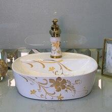 Oval Bathroom Cloakroom Europe Vintage Style Art Wash Basin Ceramic Counter  Top Wash Basin Bathroom Sinks