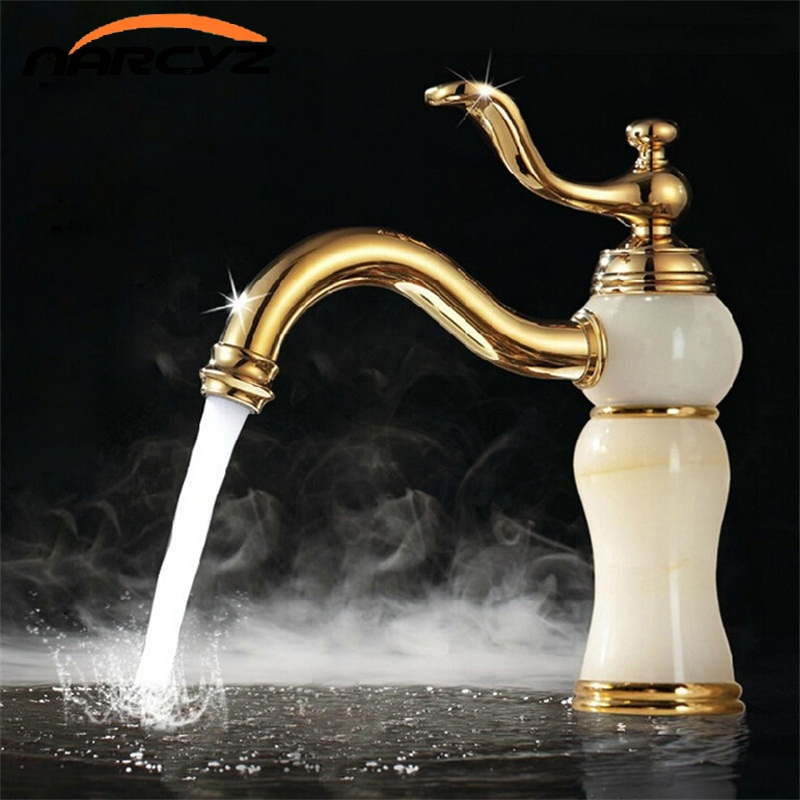 Marble faucet basin hot and cold basin jade taps full copper Golden lavatory faucet marble stone