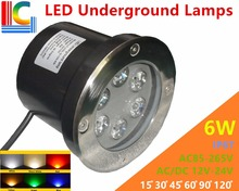 6W LED Underground Lamps 12V 24V 110V 220V 85-265V Outdoor IP67 Waterproof Buried lights DMX512 RGB Color Garden Lighting CE new 9w led underwater light 12v 24v 110v 220v 85 265v outdoor ip68 waterproof buried lights dmx512 color swimming pool light ce