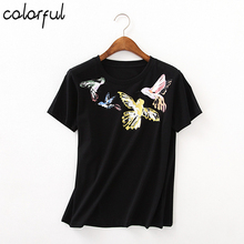 COLORFUL European Style Sexy Round Black Painting T-shirt Women Tops Short Sleeve Top Tees Girl t Shirt 90's Top Female Tees