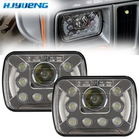 1pair 5x7 inch 45W LED Headlight With Halo Ring And DRL Led Headlamps For Jeep Cherokee Headlight Led Car Headlight Square Truck