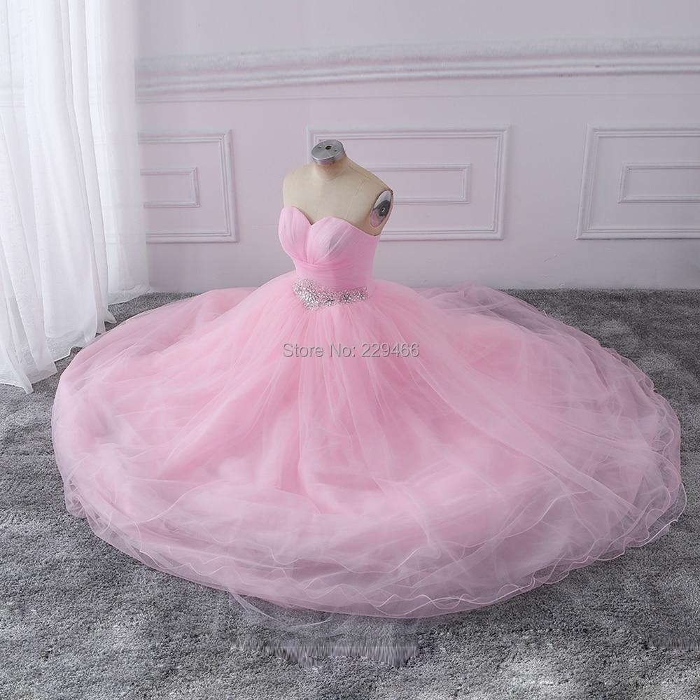 Wuzhiyi Rosa Ballkleid Quinceanera Kleider 2017 Perlen vestidos de ...