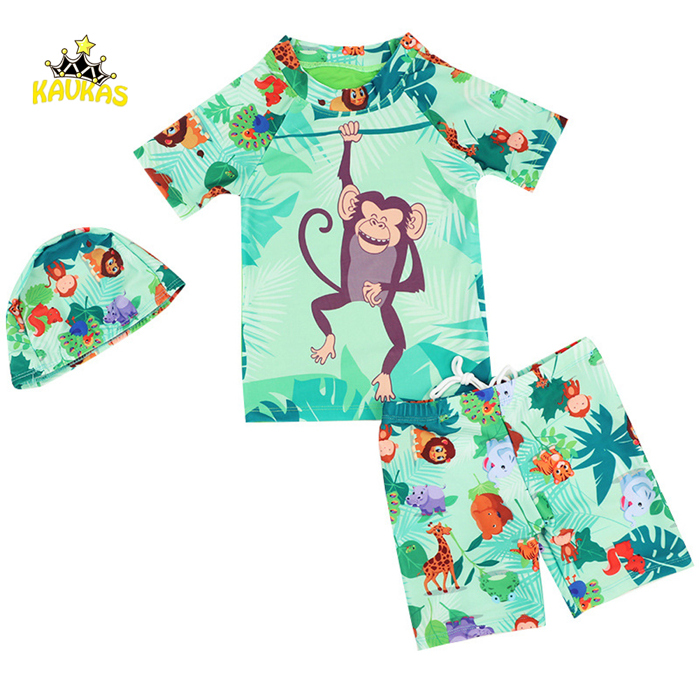 KAVKAS 3Pcs Boys Summer Swimsuit Cartoon Monkey Printing Boys Swimwear Bathing Trunks Kids Swimming Tops+Pants+Caps Clothes Set