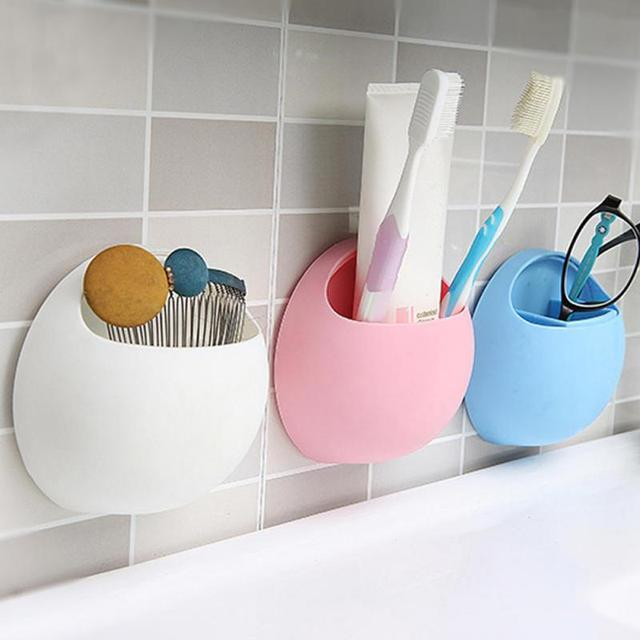 New Cute Eggs Design Toothbrush Sucker Holder Suction Hooks Cup Organizer Toothbrush Rack Bathroom Storage