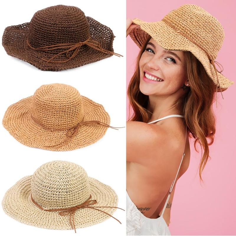 Simple Summer Parent-child Beach Hat Female Casual Panama Hat Women Girls Beach Foldable Sun Visor Panama Hat Bowknot Straw cap(China)