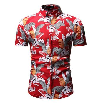 Plus Size 3XL Mens Shirts Summer Men Clothing Casual Short Sleeve Design Floral Shirt Leisure Holiday Beach Hawaiian 2019