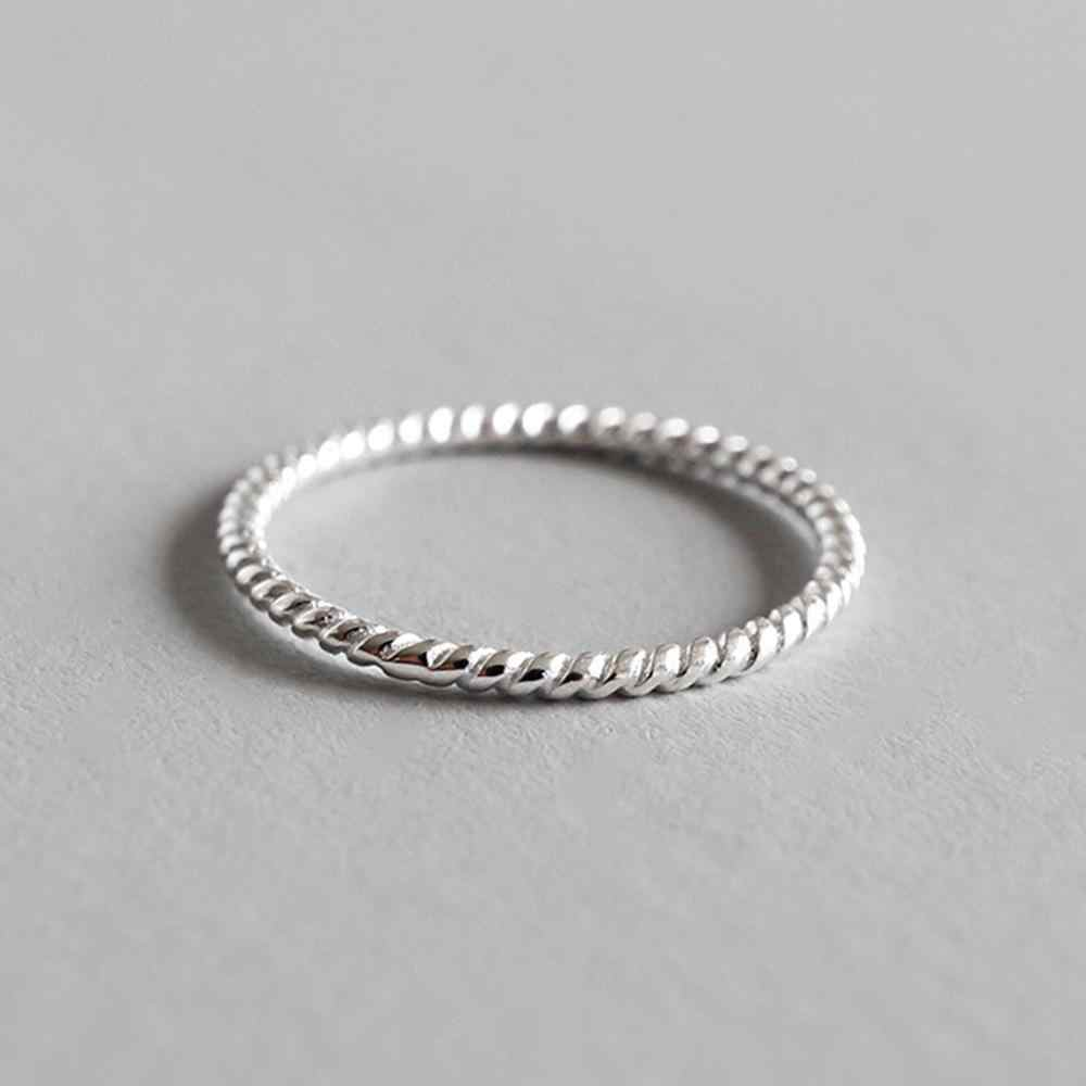 LicLiz 2019 ใหม่ 925 เงินสเตอร์ลิงถักเชือกแหวนผู้ชายแหวนเครื่องประดับ Anillos Bijoux Femme LR0724