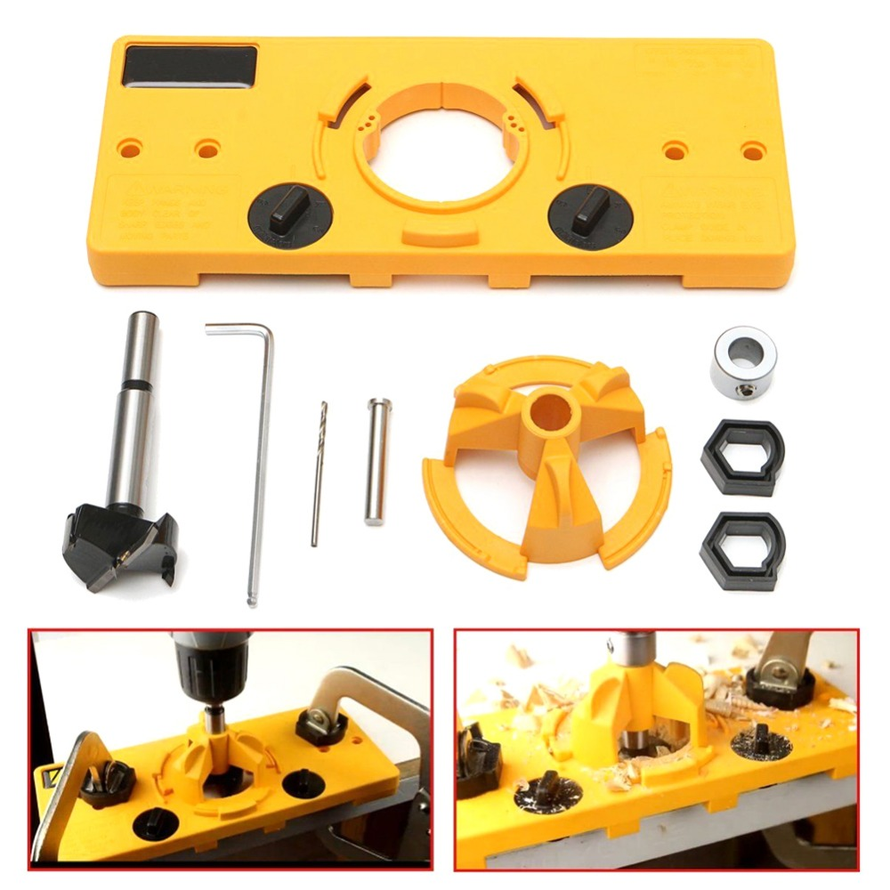 NEW 35mm Hinge Drilling Jig + 35mm Bit Set Guide Hole Puncher Hole Locator DIY Woodworking Tool woodworking drilling locator pocket hole jig woodwork guide carpenter kit system with toggle clamp and step drilling bit