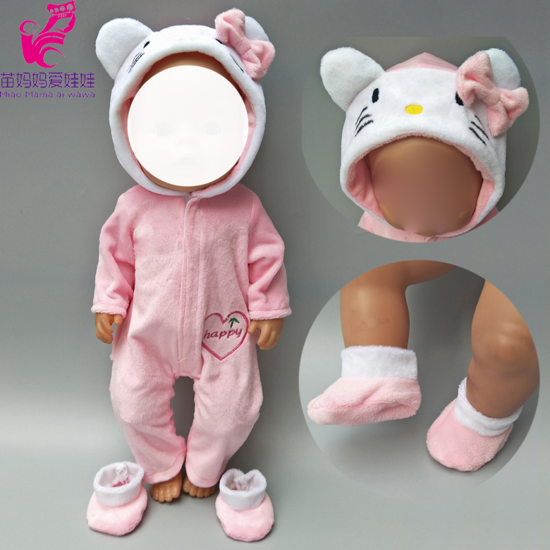 Doll clothes for 43cm Baby doll coat Pink cat outfit set for 18 inch reborn baby doll clothes hoodie suit with for toy wear in Dolls Accessories from Toys Hobbies