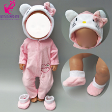 Doll clothes for 43cm Baby doll coat Pink cat outfit set for 18 inch reborn baby doll clothes hoodie suit with for toy wear new style reborn baby doll clothes fit for 16 17 inch doll cute cartoon bear reborn doll accessories child toy clothes kid gifts