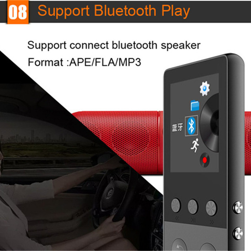 Lgsixe New Metal Bluetooth MP4 Player 8GB 1.8 Inch Screen Play 50 hours with FM Radio E-book Audio Video Player Portable Walkman
