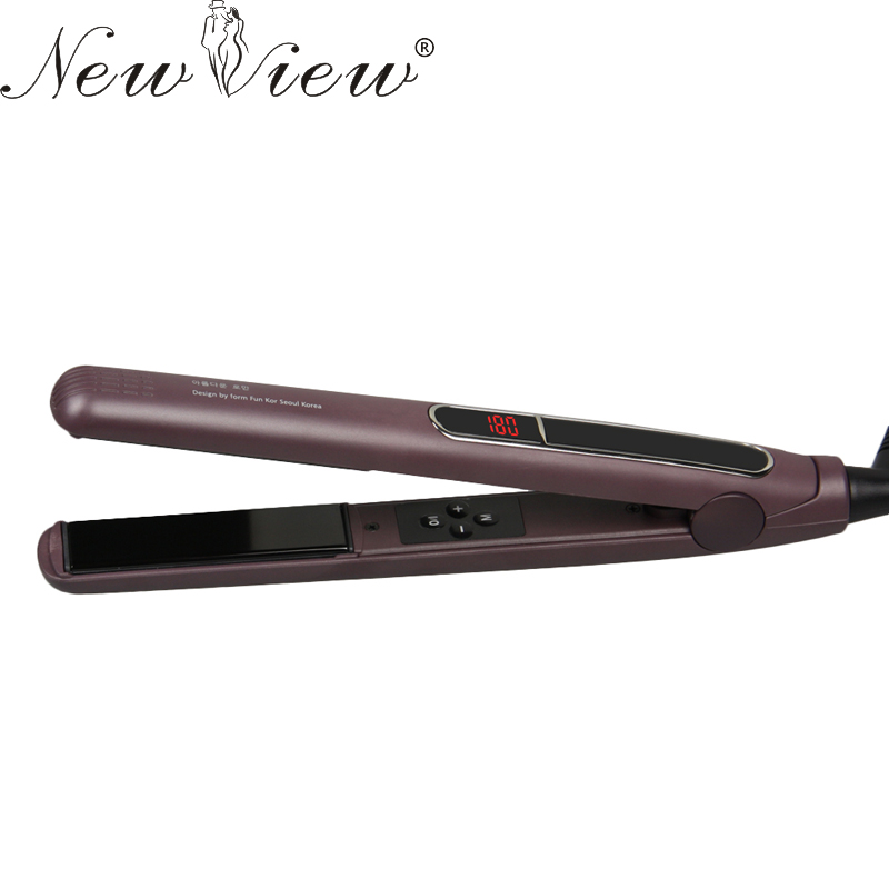 NewView Ceramic Anion Professional Hair Straightening Flat Iron Intelligent Digital Hair Curler Styling Tools Straightener 110 240v kemei ceramic hair straightener temperature control heating flat iron professional straightening iron styling tools