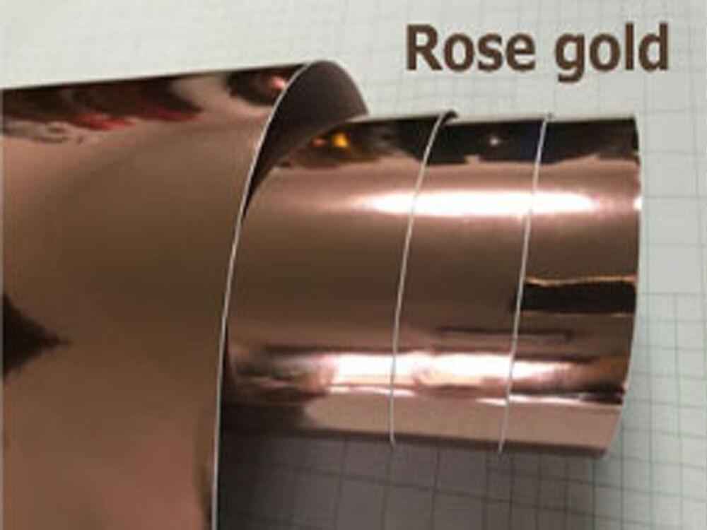 Высокая растягивающаяся Водонепроницаемая УФ-защита темно-синяя Хромовая зеркальная виниловая пленка, рулонная пленка для автомобиля, наклейка, лист - Название цвета: ROSE GOLD