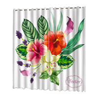 Plant Curtain Tulle Door Window 132x245cm Nordic Plant Series Printing Sheer Curtains Living Room Bedroom Blackout Curtains