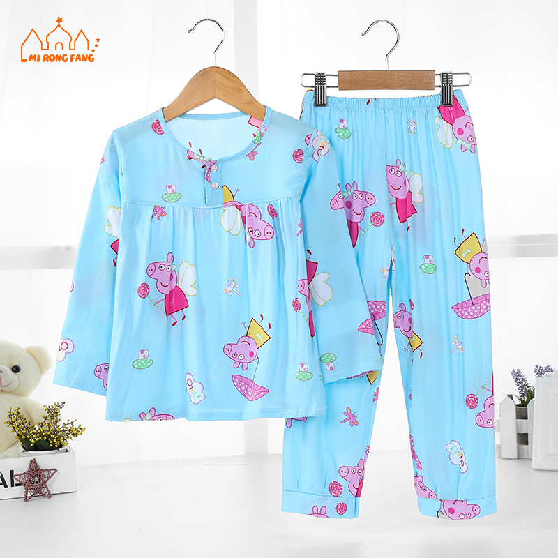 Baby Girls Pajamas Clothing Sets 2-11 Years Cartoon Long Sleeve Pajamas Tops Bottoms Kids Children Sleepwear Girls Clothes Sets 2018 kids pajamas sets baby girl and boys clothes teenage girls pajamas suits long sleeve tops and pants 2 pieces clothing sets