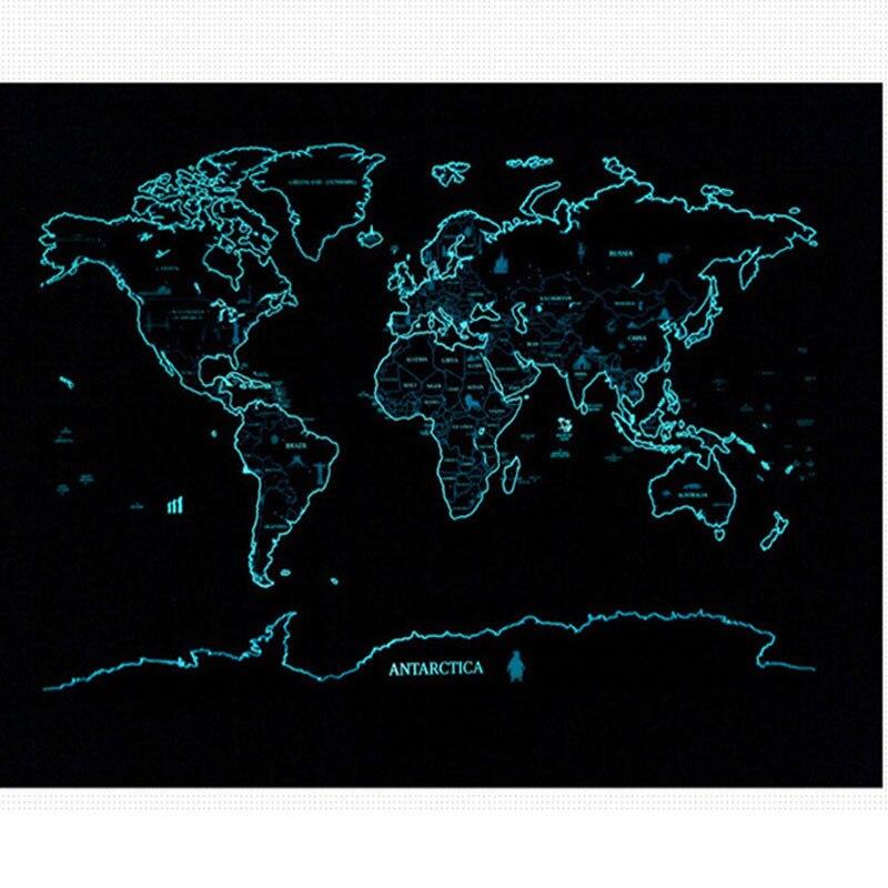 Nuit Lumineuse Scratch Carte Fluorescent Starlight Monde Voyage Personnalisé Vacances Décor À La Maison Cadeau Double Côté Mur Autocollant