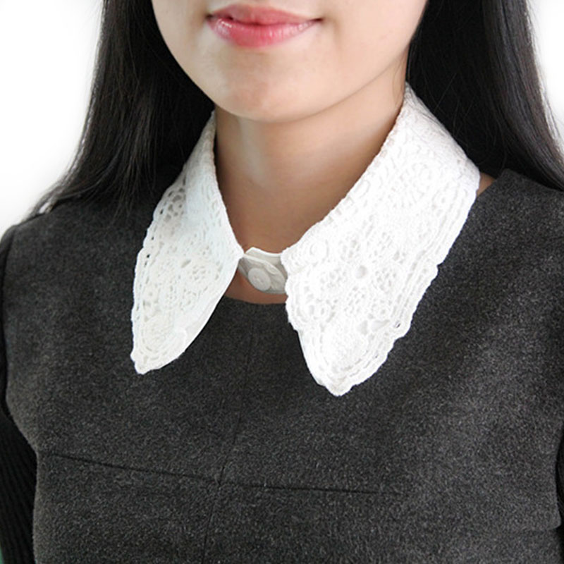 New Women Detachable Fake Collar Collars Diamond Crystal Lace Cotton Detachable For Shirt Sweater New