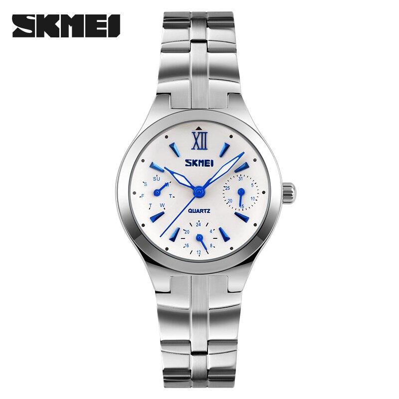 купить SKMEI Brand Women Fashion Casual Watches Quartz Watch Relogio Masculino Women's Stainless Steel 30M Waterproof Quartz-Watch недорого