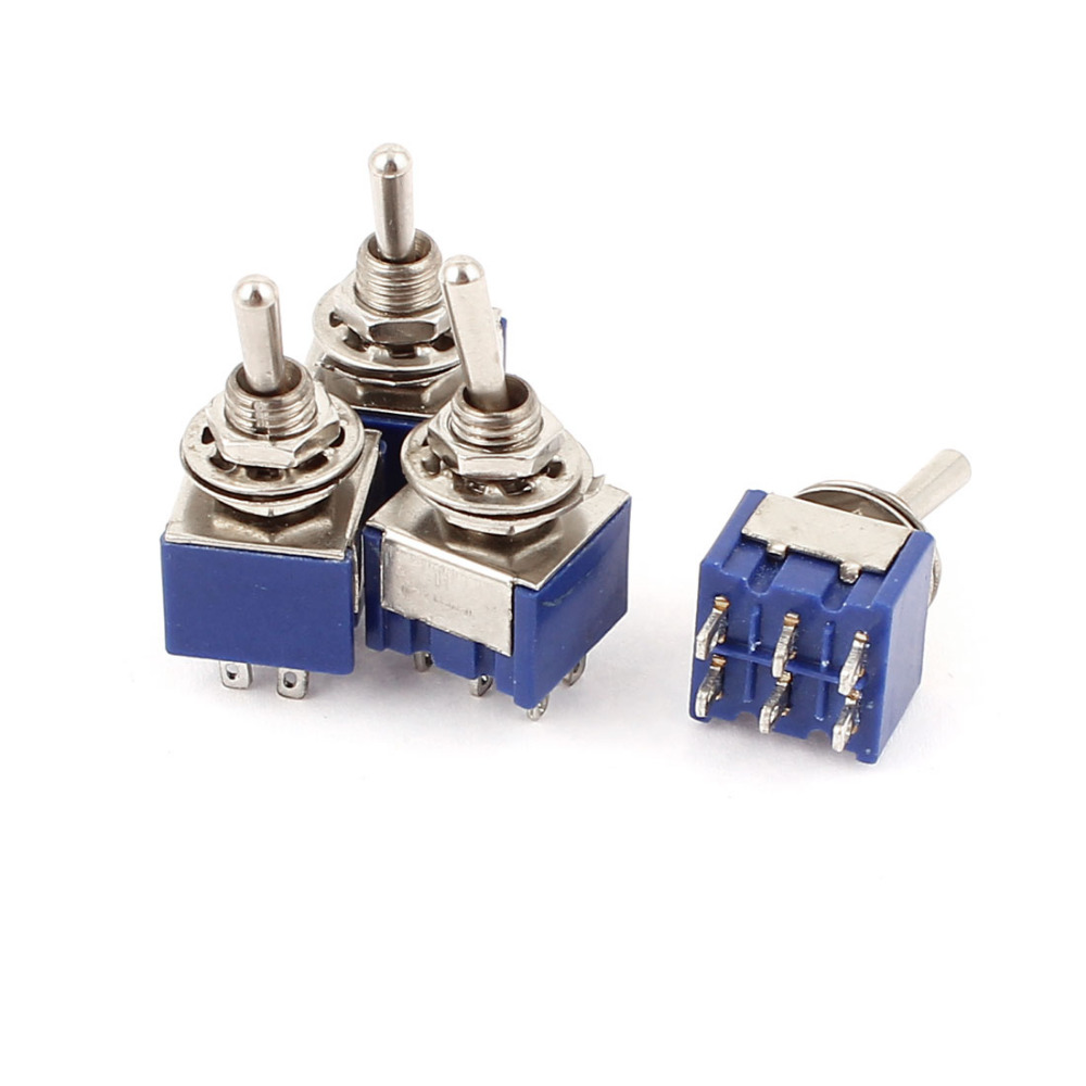 4 Pcs AC 6A 125V 2 Position 6Pins DPDT ON-OFF Micro Mini Toggle Switch B