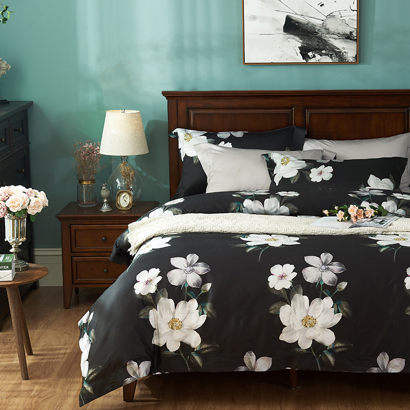 Luxury 1000tc Egyptian 100 Cotton Bedding Sets Queen King Size Chinese Flowers Duvet Cover