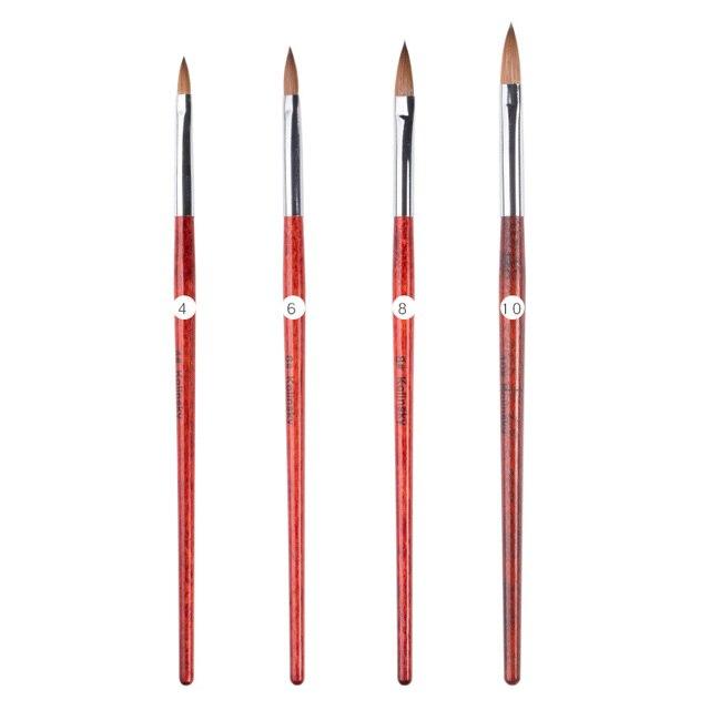 NEWBY 1Pc No. 4/6/8/10 Pure 100% Kolinsky Sable Acrylic Nail Art Brush Detachable Pen Nail Art Manicure Tool Wholesaler Supplier