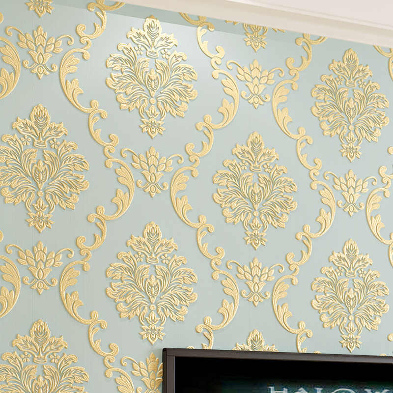 European Style 3D Stereo Damask Wallpaper for Bedroom Living Room Wall Decor Embossed Non-woven Wall Paper Roll Papel De Parede