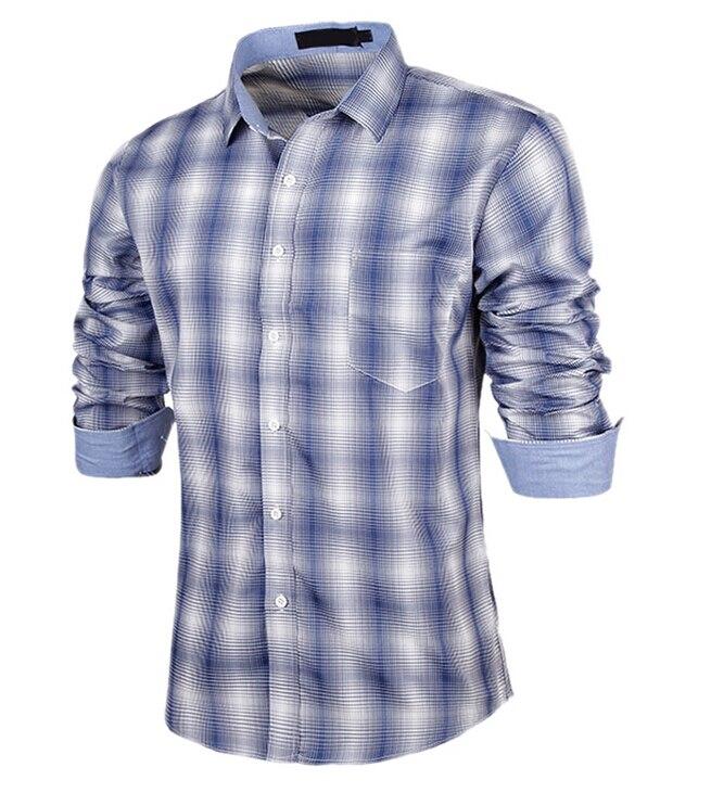 MYPF New Fashion Men Shirts Plaid Long Sleeve Casual Shirt Clothes