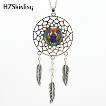 2017 Gaya Trendi Dreamcatcher Liontin Egyptian Scarab Kalung Mesir Kuno Perhiasan Dream Catcher Kalung NDC-0021(China)