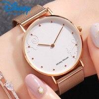Disney Fashion Women Watches 2018 Silver Geneva Watch Rose Gold Luxury Watches for Women Bracelet Ladies Watch montre femme Gift