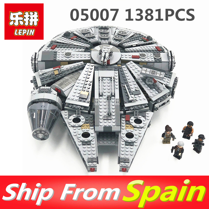 Lepin 05007 1381PCS Star Wars Series Force Awakens Millennium legoingly 75105 Building Blocks Bricks Gift toys for Kids lepin 05007 stars series war 1381pcs force awakens millennium toys falcon diy set model building kits blocks bricks children toy