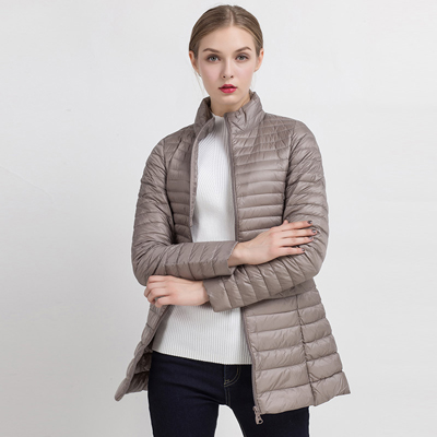 90% белый утиный пух пальто ультра светильник тонкий длинный пуховик портативное Женское зимнее пальто размера плюс Chaquetas Mujer - Цвет: Khaki