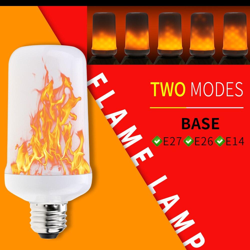 E27 Led Flame Effect Lamp E26 Flickering Bulb 220V E14 Dynamic Fire Light 110V Decorative Lamp Vintage New Year Creative Lampada
