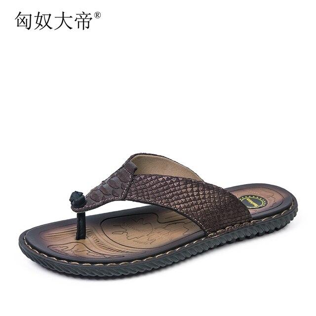 fb9c41e4a Tamaño grande verano hombres zapatillas chanclas zapatillas de playa  zapatillas de cuero masculinos genuinos chanclas zapatilla