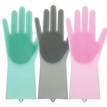 1 пара магия силикона Rubbe перчатки для мытья посуды Экологичные Поломоечные очистки для универсального Кухня кровать Ванная комната Уход за волосами