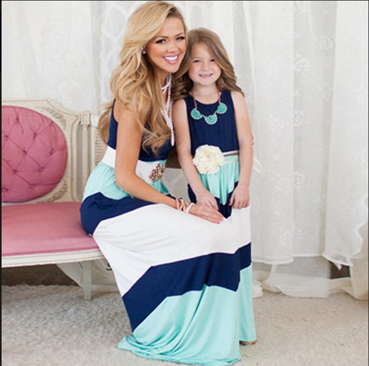 Summer time Type Household Matching Outfits Mom Daughter Clothes Distinction Colour Blue A-Line Costume Ankle-Size Mom & Youngsters Garments