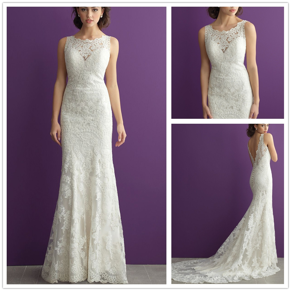 Ivory Scoop Court Train Zipper Up With Buttons Embroidered On Net Sheath Court Train Custom-Made Mermaid Vestido De Noiva Long