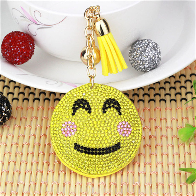 Cute Keychain Rhinestone Crystal Keyring Car Key Chain Womens Key Holder  Ring Bague Smiley Face Wholesale Jewelry Gifts 6C2295 92ce61b67