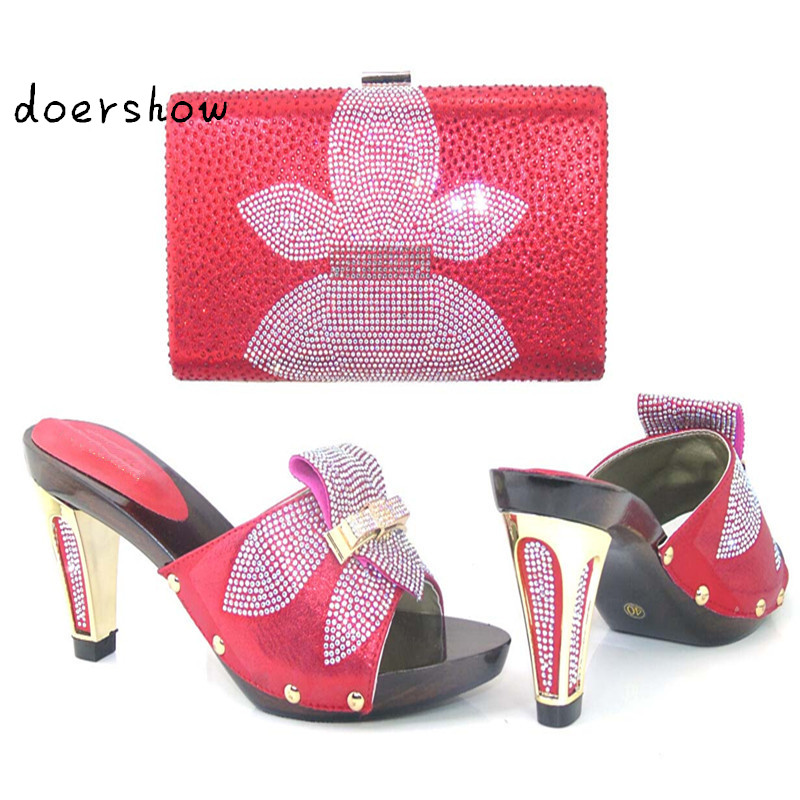 doershow New Fashion Italian Shoes with Matching bags For Party african Shoes And Bags Set for Wedding shoe and bag set HJJ1-10
