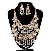 LAN PALACE nigerian beads necklace jewelry set Tassels austrian crystal necklace and earrings wedding necklace free shipping
