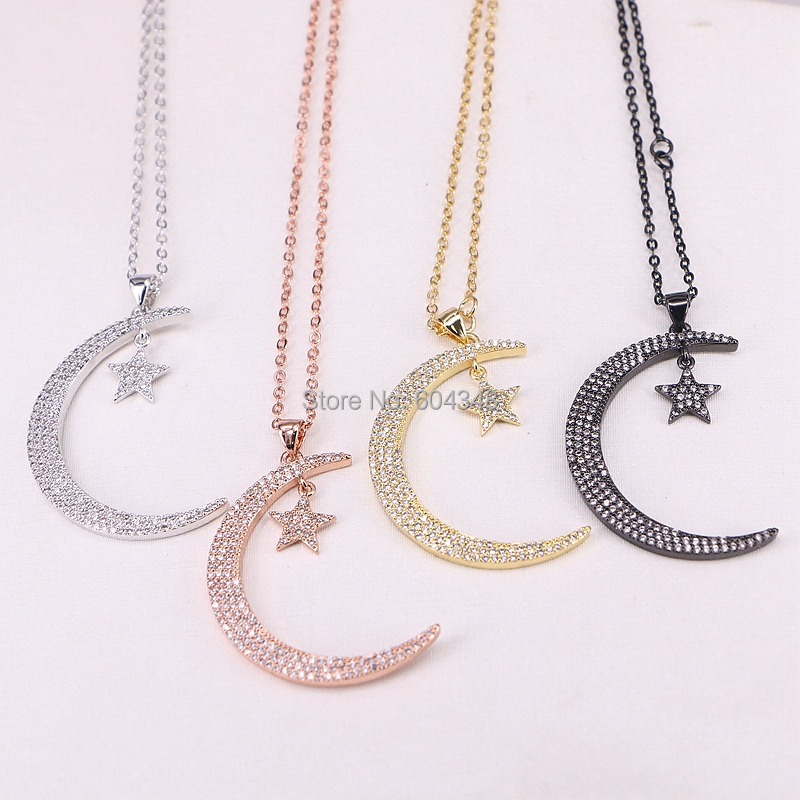 10 Strands Zyunz Micro Pave CZ Star and Crescent Moon Copper Charms Pendants Necklaces Jewelry