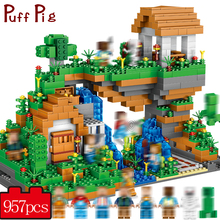 957 PCS My World Hidden Water Falls Building Blocks Bricks Toys Educational Toy Gift For Kids