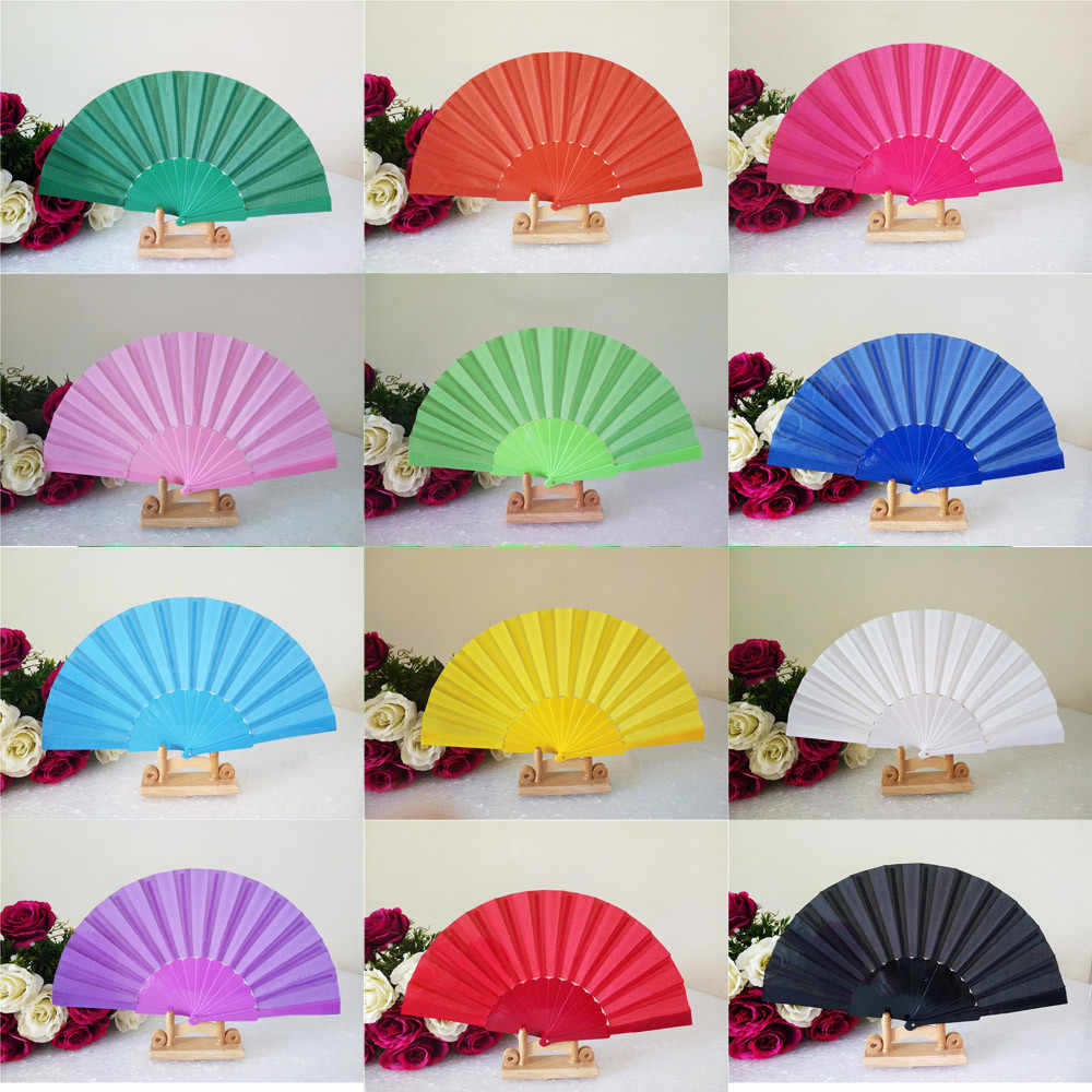 Pattern Folding Dance Wedding Party Lace Silk Folding Hand Held Solid Color Fan Chinese Dance Party Pocket Gifts Wedding #80