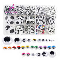 Lucia crafts Variety Assorted Sizes 1box/lot (approx.1120 pcs) 4-25mm Round Plastic Self-adhesive Googly Wiggle Eyes K0925