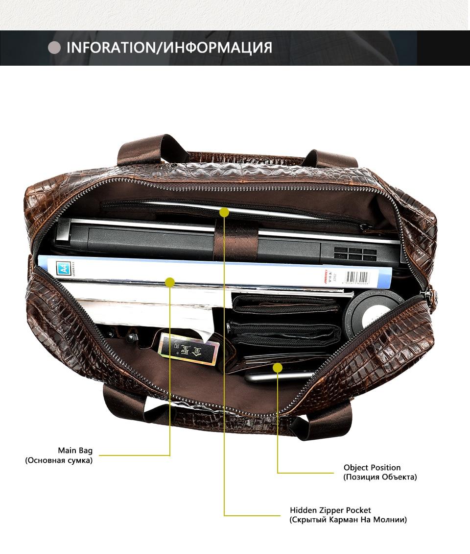 MVA Male briefcase/Bag men's genuine leather bag for men leather laptop bags office bags for men Crocodile Pattern handbag 5555
