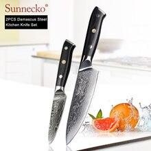 SUNNECKO 2PCS Kitchen Knives Set 6.5 Chef 3.5 Paring Knife Damascus Japanese VG10 Steel Blade Cut Cooking G10 Handle