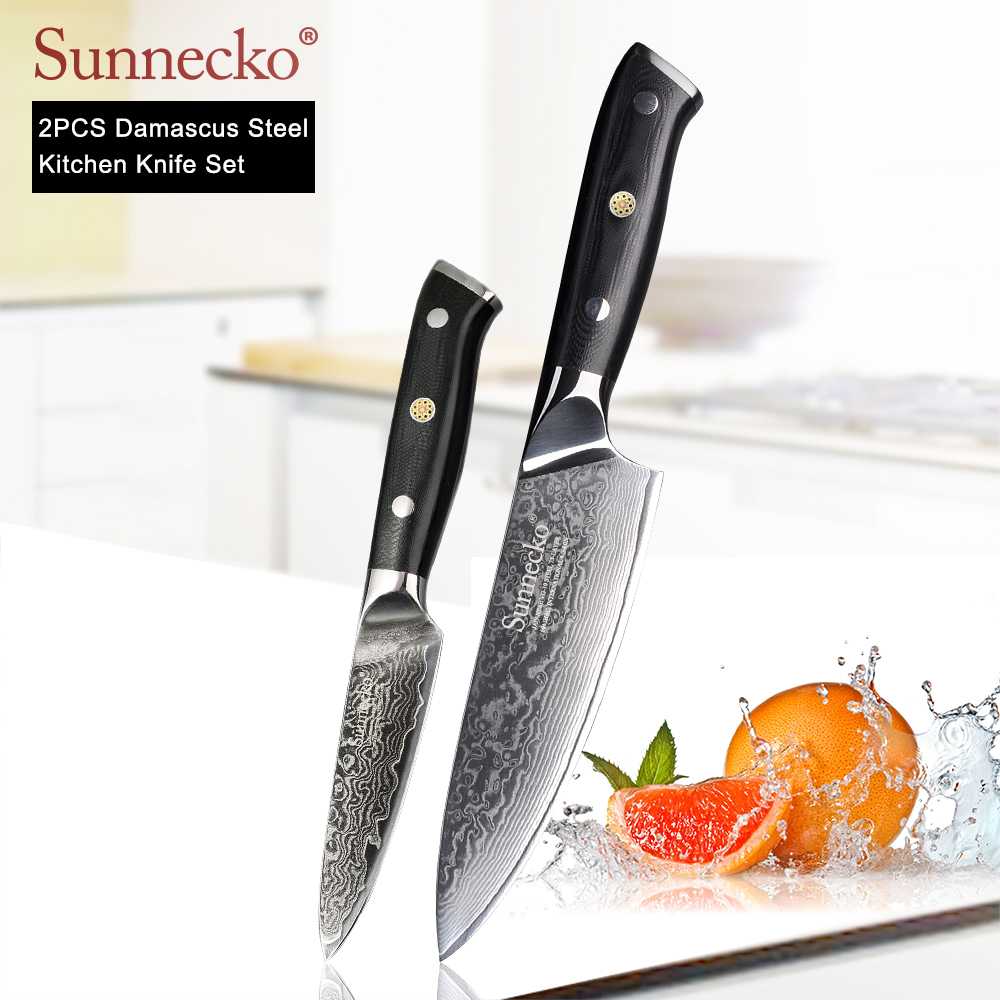 SUNNECKO 2PCS Kitchen Knives Set 6.5'' Chef 3.5'' Paring Knife Damascus Japanese VG10 Steel Blade Cut Cooking Knives G10 Handle